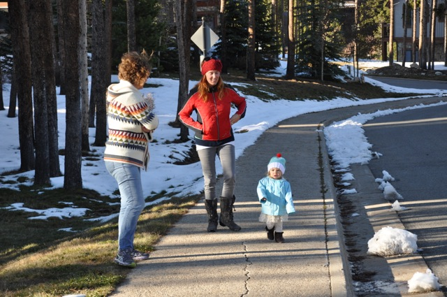 Family walk through Breck.
