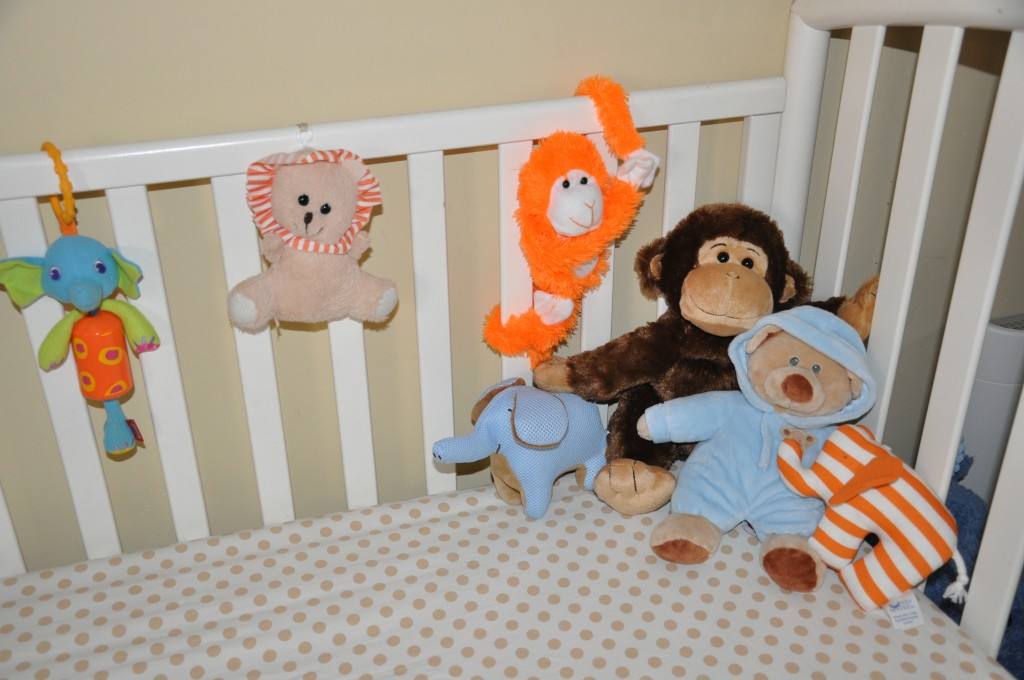 Stuffed animals from his baby shower.