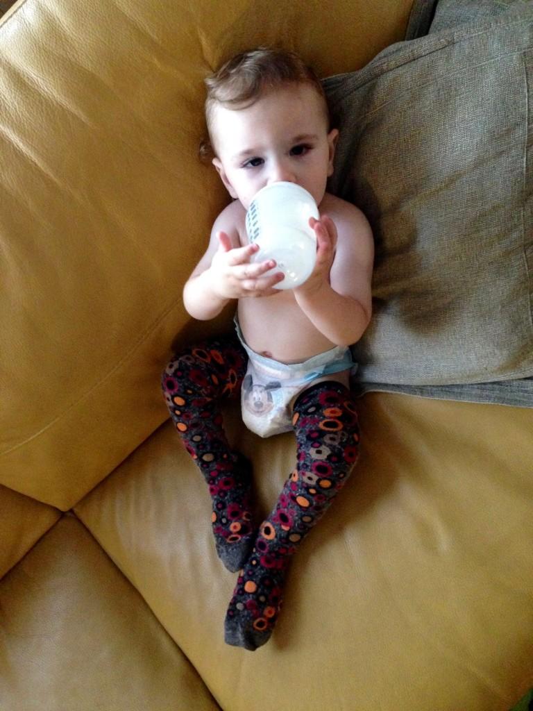 Wearing Momma's socks.