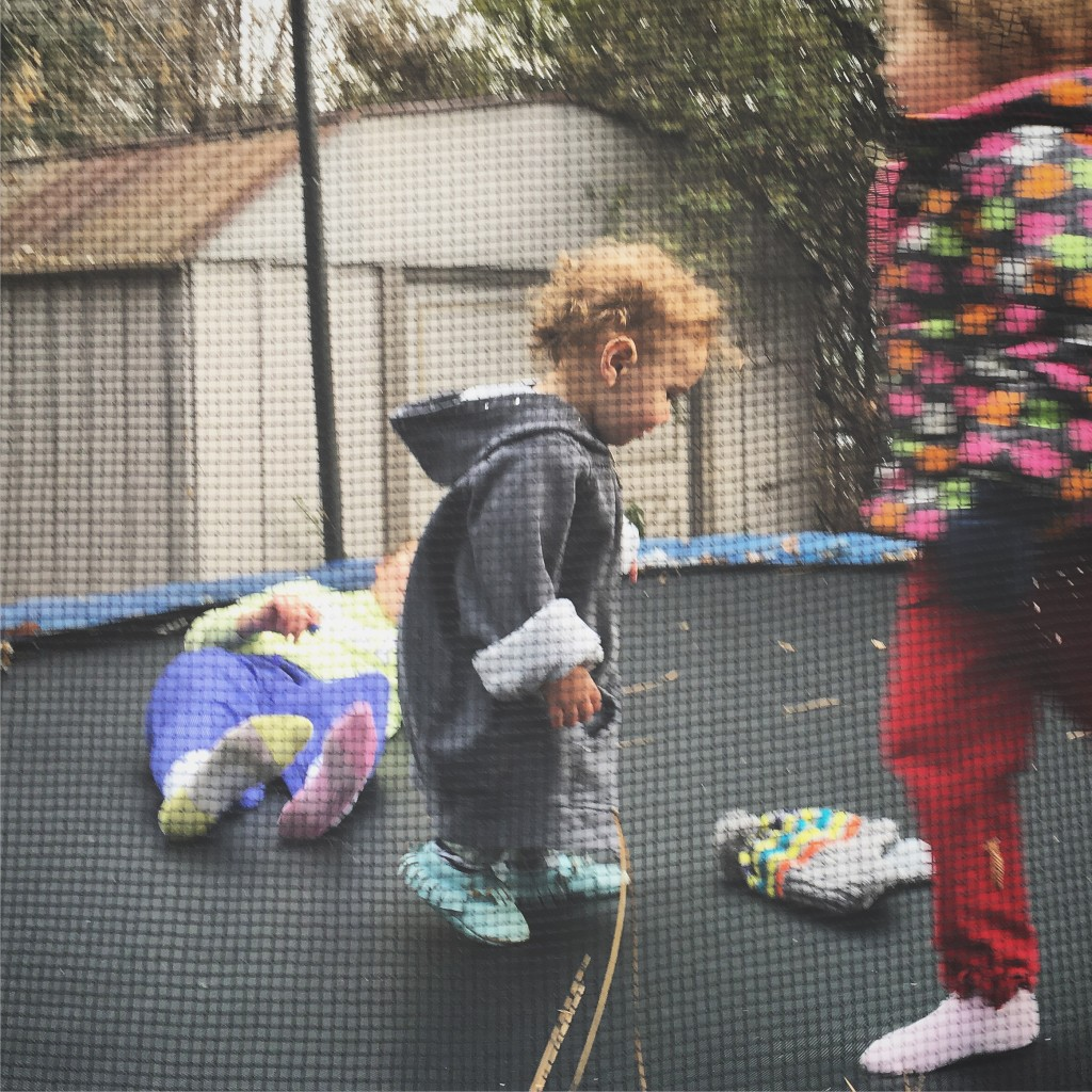 He loved the outdoor trampoline!