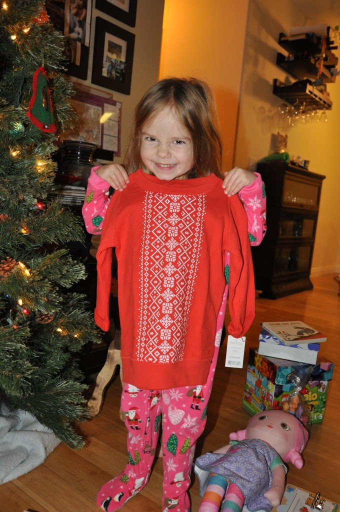 Her first sweatshirt was a hit! Thank you, Auntie Rae Rae!