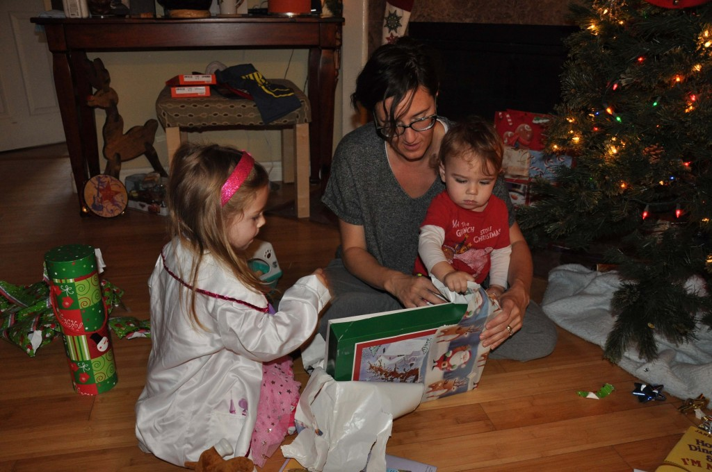 Cecito opening gifts with LL.